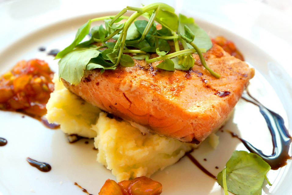 Salmon with Balsamic Honey Glaze and Cheesy Mashed Potatoes
