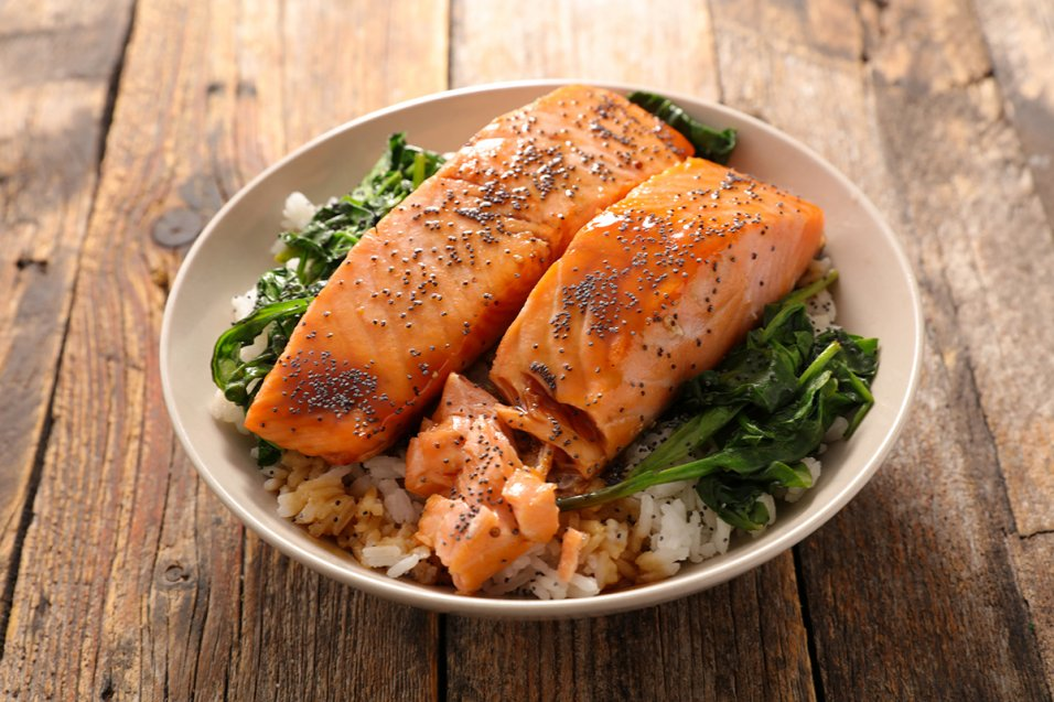Sesame Glazed Salmon and Rice Bowl